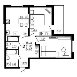 Двухкомнатная квартира Тип1
