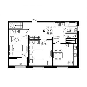 Четырехкомнатная квартира Тип1 (9-й этаж)тырехкомнатная