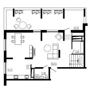 Четырехкомнатная квартира Тип2 (10-й этаж)