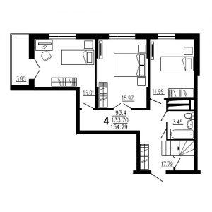 Четырехкомнатная квартира Тип2 (9-й этаж)