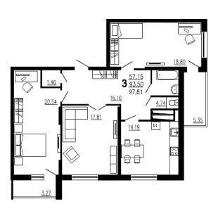 Трехкомнатная квартира Тип1