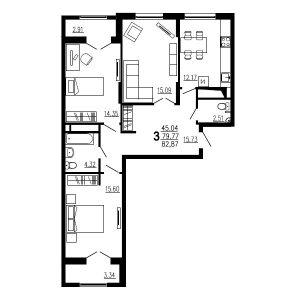 Трехкомнатная квартира Тип2