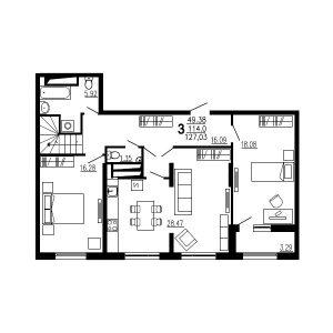 Трехкомнатная квартира Тип4 (9-й этаж)