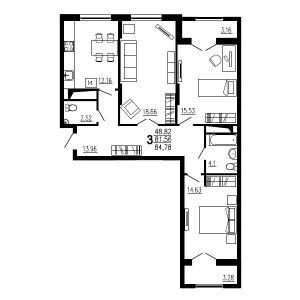 Трехкомнатная квартира Тип3